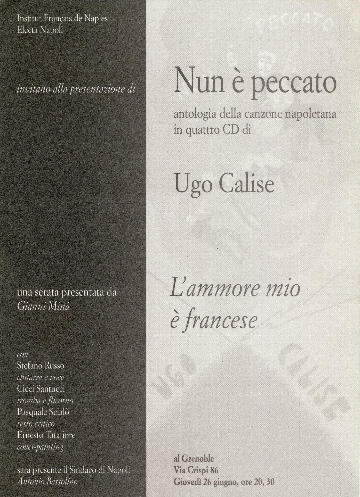 Invito alla presentazione dell'antologia di Ugo Calise