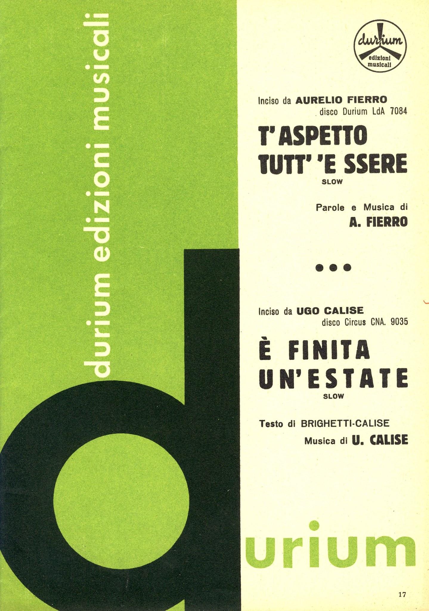 E' Finita Un'Estate... (Brighetti-Calise). Edizioni Durium (1962).