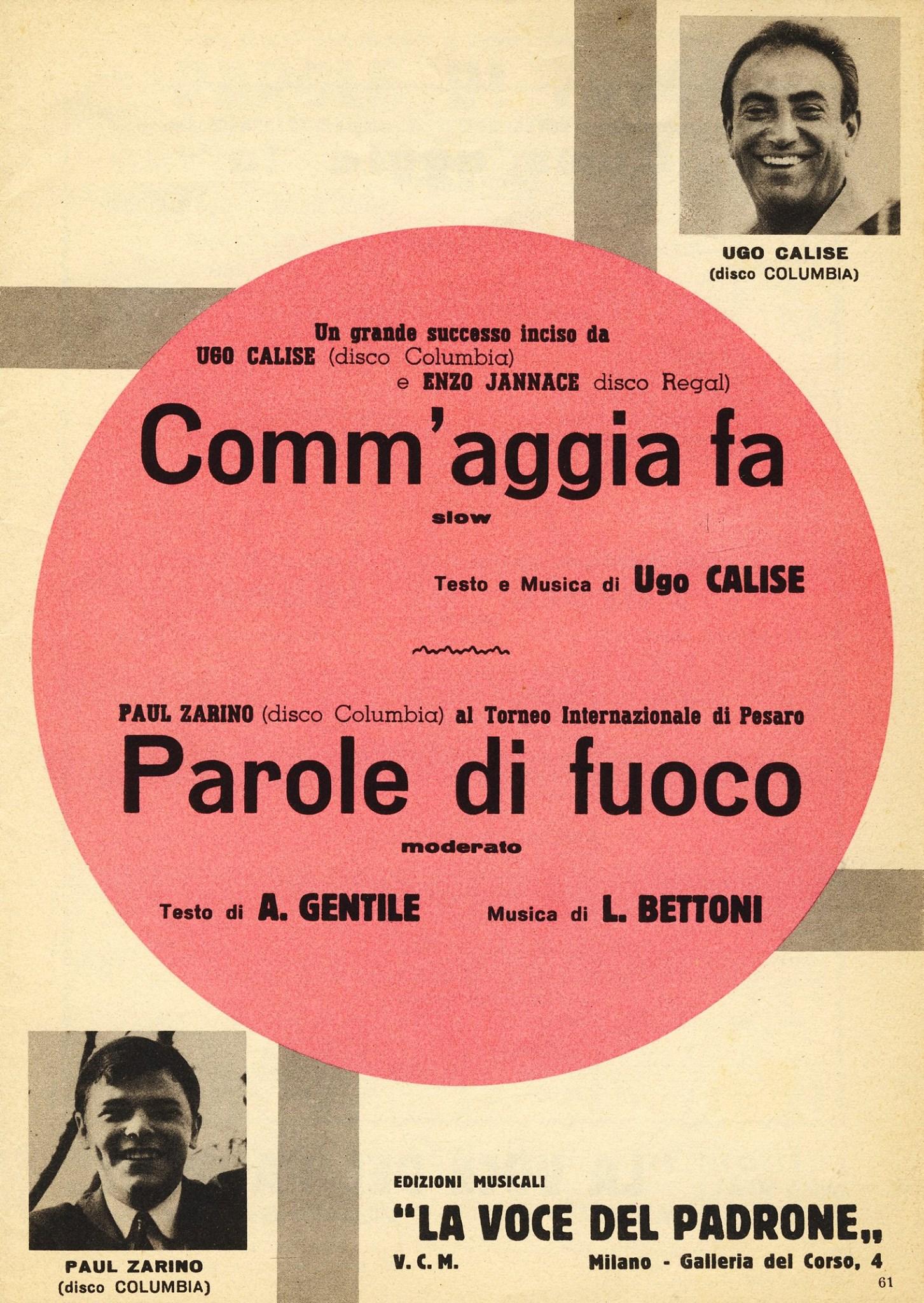"""""""Comm' Aggia fa"""" 1964"""