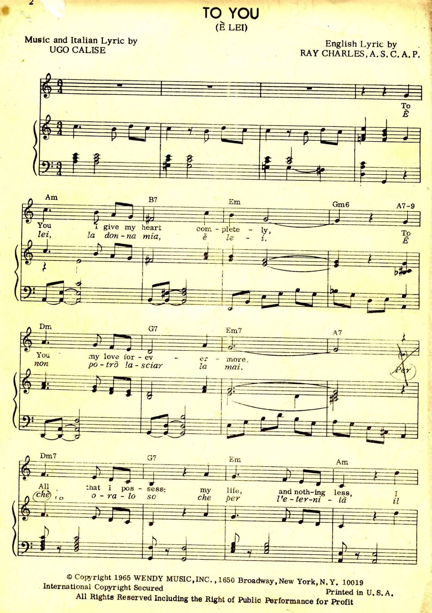 """""""E' Lei!"""" (Calise-Calise) nella versione inglese con testo di Ray Charles."""