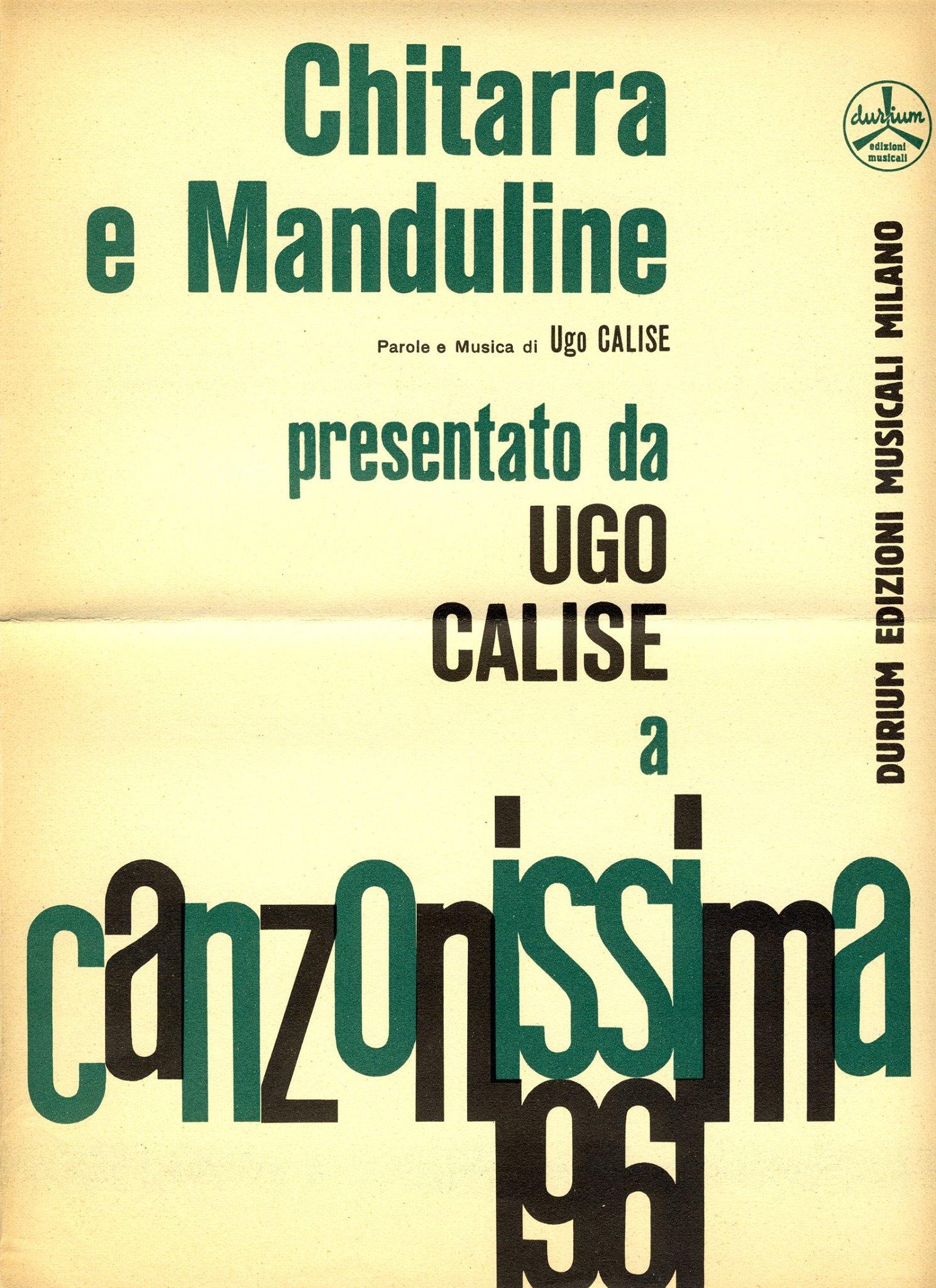 """Partitura di """"Chitarra E Manduline"""" (Calise-Calise). Edizioni Durium 1961."""
