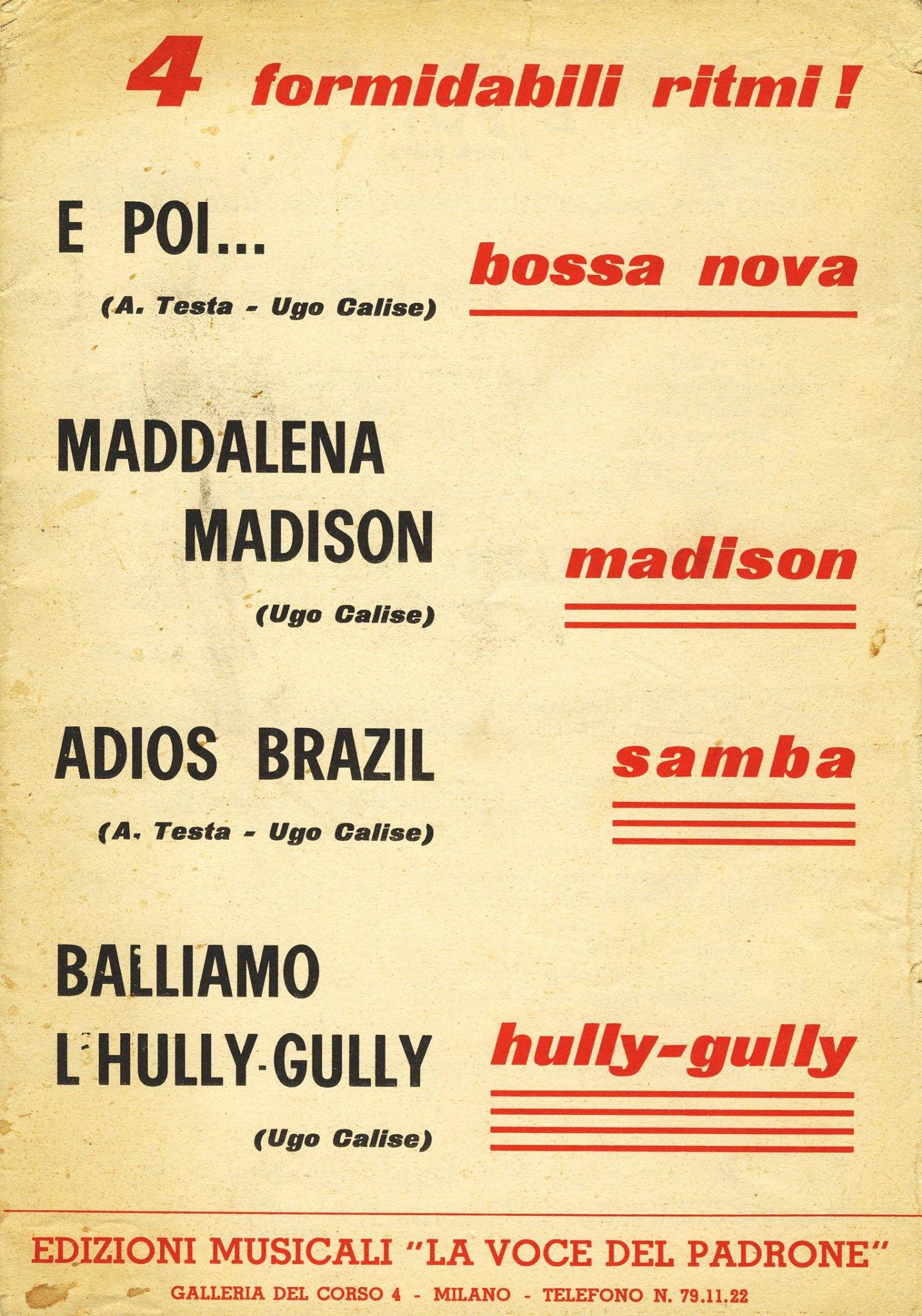 Fronte di un fascicolo di quattro canzoni di Ugo Calise